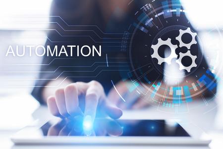 비즈니스 및 제조 프로세스 자동화, 스마트 산업, 혁신 및 현대 기술 개념. 스톡 콘텐츠