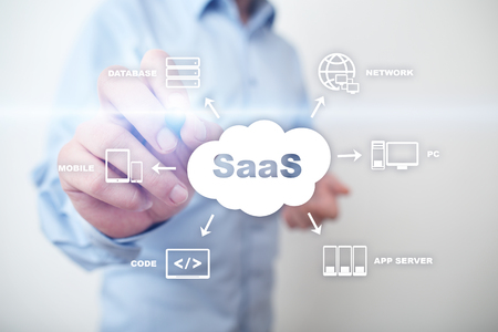 SaaS, Software as a Service. Internet and networking concept. 스톡 콘텐츠 - 120768618