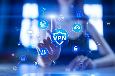 VPN Virtual Private network protocol. Cyber security and privacy connection technology. Anonymous Internet. Stock Photo
