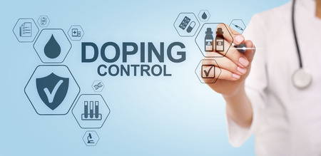 Doping Control Sports Analysis Test Laboratory. Medical concept on virtual screen.
