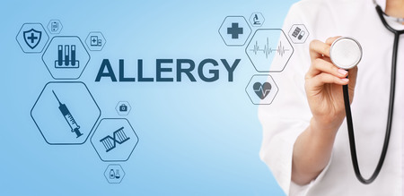 Allergy diagnosis medical and healthcare concept Doctor with stethoscope.