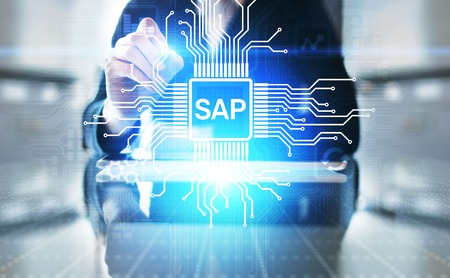 SAP - Business process automation software. ERP enterprise resources planning system concept on virtual screen. Archivio Fotografico