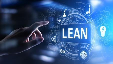 Lean, Six sigma, control de calidad y concepto de gestión de procesos de fabricación en pantalla virtual. Foto de archivo