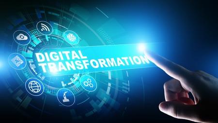 Digitale transformatie, disruptie, innovatie. Zakelijk en modern technologieconcept.