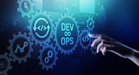 Concepto de desarrollo DevOps Agile en pantalla virtual.