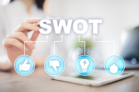 swot analysis concept  - a study by an organization to identify its internal strengths, weaknesses, as well as its external opportunities and threats. Фото со стока