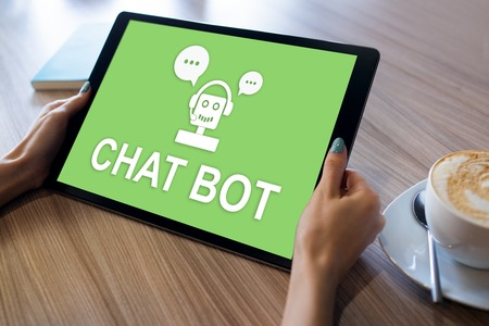 Chatbot icon on device screen. Customer Support automation concept