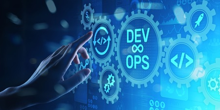 DevOps Agile development concept on virtual screen. Stockfoto - 121163414