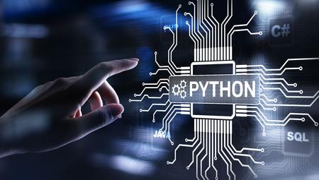 Python high-level programing language. Application and web development concept on virtual screen. Imagens
