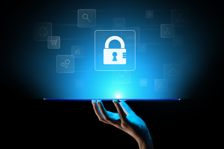 Cyber security, Personal data protection, information privacy. Padlock icon on virtual screen. Internet and technology concept. 版權商用圖片
