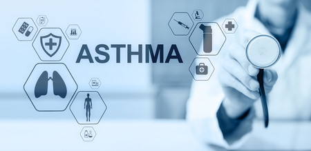 Asthma diagnosis, medical doctor with stethoscope and virtual screen. Modern medical concept.
