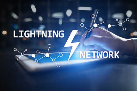 Lightning network - second layer payment protocol that operates on top of a blockchain. Bitcoin, cryptocurrency, internet payment. 版權商用圖片