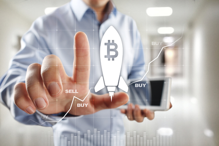 Bitcoin cryptocurrency. Market trading, Financial technology and digital money concept.