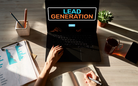 Lead generation start button on screen. Digital marketing and business strategy concept. 版權商用圖片