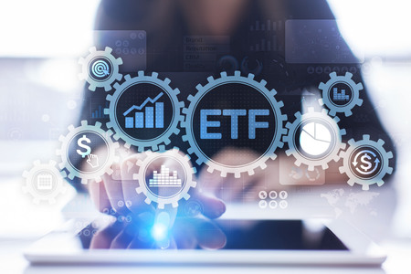 ETF Exchange traded fund Trading Investment Business finance concept on virtual screen.