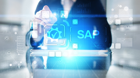 SAP - Business process automation software. ERP enterprise resources planning system concept on virtual screen. Banco de Imagens