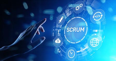 SCRUM, Agile development methodology, programming and application design technology concept on virtual screen.