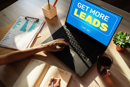 Lead generation start button on screen. Digital marketing and business strategy concept.