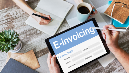 E-invoicing, Online banking and payment. Technology and business concept.