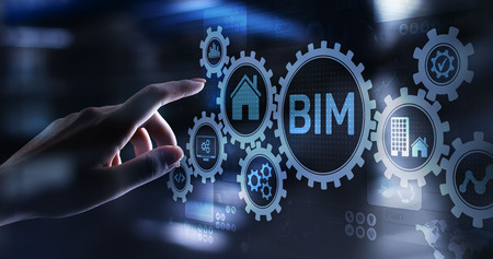 Concepto de tecnología de modelado de información de construcción BIM en pantalla virtual