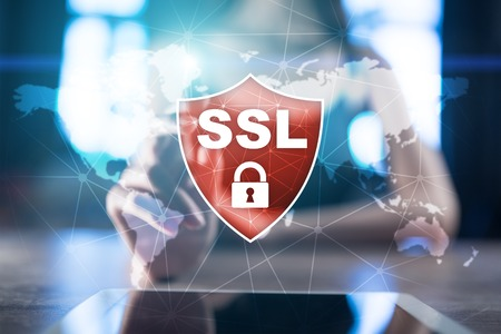 SSL Secure Sockets Layer, a computing protocol. Security of data sent via the Internet by using encryption. Stock Photo