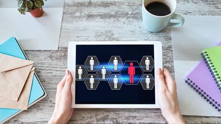 HR, Human resource management, teamwork, recruitment concept on device screen. Imagens