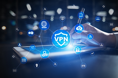 VPN Virtual Private network protocol. Cyber security and privacy connection technology. Anonymous Internet