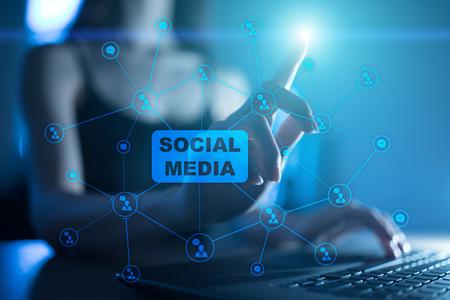 Social media concept on virtual screen. Global Communication network Stock Photo