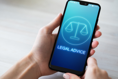 Legal advice icons on mobile phone screen. Attorney at law, consultation, supprot. Business concept