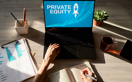 Private equity fund, investment and trading concept on screen. Financial growth.