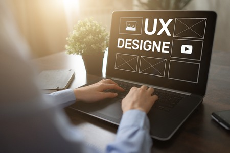 UX Design. User experience designer, Web and application development. Internet and technology concept. 스톡 콘텐츠