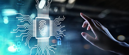 Fingerprint unlock cyber security data protection concept on virtual screen.