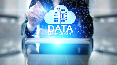 Data management system, cloud technology, Internet and business concept. Imagens