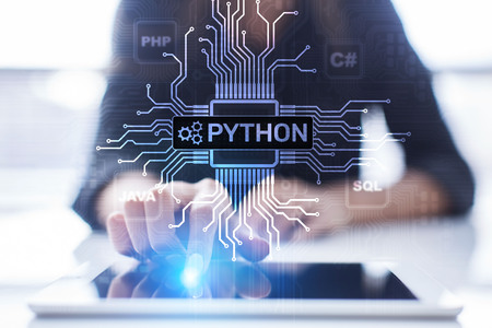 Python high-level programing language. Application and web development concept on virtual screen. 스톡 콘텐츠