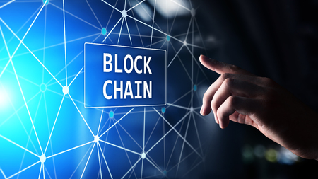 Blockchain technology concept on virtual screen. Cryptography and cryptocurrency. 스톡 콘텐츠