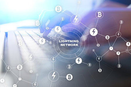 Lightning network - second layer payment protocol that operates on top of a blockchain. Bitcoin, cryptocurrency, internet payment. Banco de Imagens