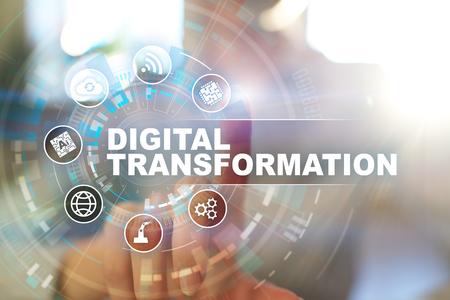 Digitale transformatie, concept van digitalisering van bedrijfsprocessen en moderne technologie.