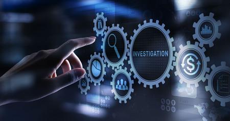 Investigation inspection audit business concept on virtual screen. Reklamní fotografie