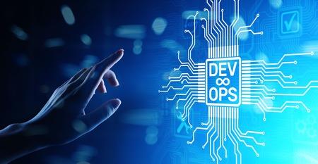 Devops Agile development and optimisation concept on virtual screen.