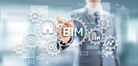 Concept de technologie de modélisation des informations du bâtiment BIM sur écran virtuel.