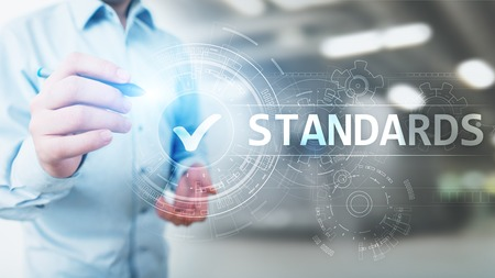 Standard. Quality control. ISO certification, assurance and guarantee. Internet business technology concept.