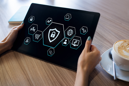 Cyber protection, Data security, Information provacy concept on screen. Banque d'images