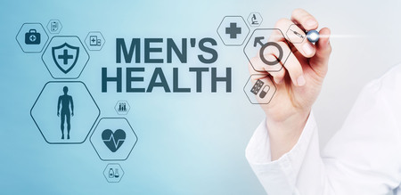 Mens Health banner, medical and health care concept on screen. Doctor with stethoscope. Stock Photo