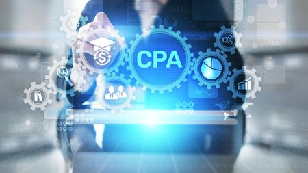 CPA Certified Public Accountant Audit Business concept on virtual screen. Stock Photo