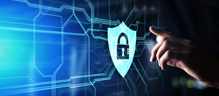 Shield cyber security concept on virtual screen. Data protection. Information privacy. Imagens