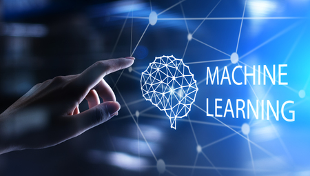 Machine Deep learning algorithms and AI Artificial intelligence. Internet and technology concept on virtual screen. Imagens