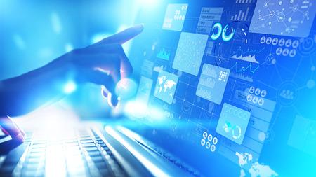 Business intelligence analyst dashboard on virtual screen. Big data Graphs Charts. Imagens