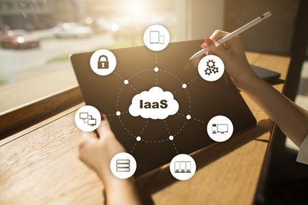 IaaS, Infrastructure as a Service. Internet and networking concept. Imagens