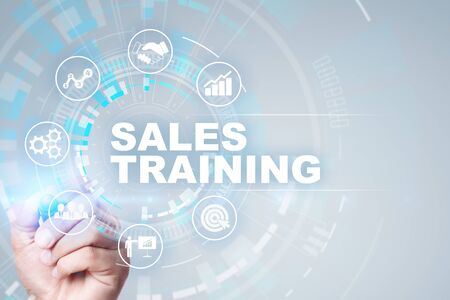 Sales training, Business development and marketing concept on virtual screen. Imagens