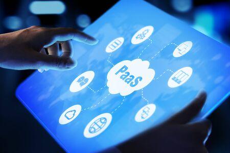 PaaS - Plate-forme en tant que service, technologie Internet et concept de développement. Banque d'images